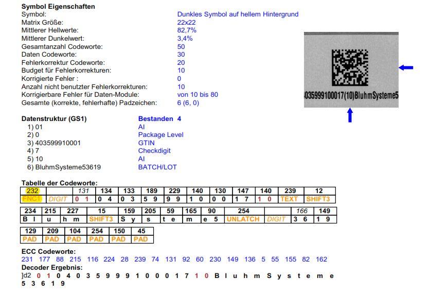 Pruefprotokoll GS1 Datamatrix