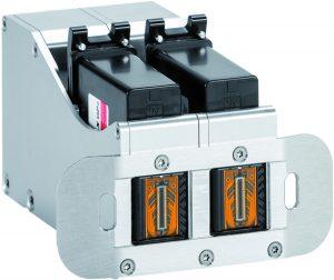 Nonstop-Printing: Zwei Druckköpfe werden gleichzeitig betrieben. Bei Kartuschenwechsel übernimmt automatisch der andere Druckkopf die Druckaufgabe.
