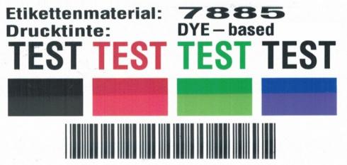 Testergebnis UV-Beständigkeit farbstoffbasierte Tinte