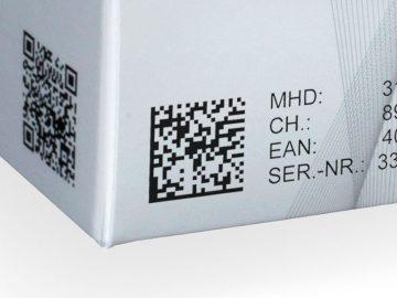 Datamatrix-Code auf einer Faltschachtel