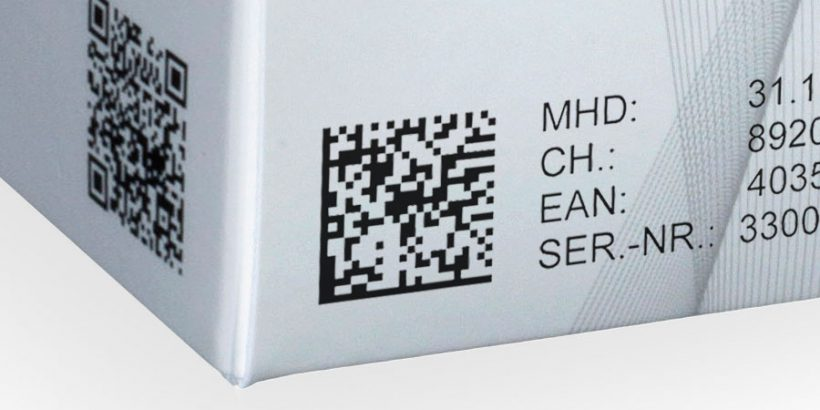 Datamatrix code on a carton