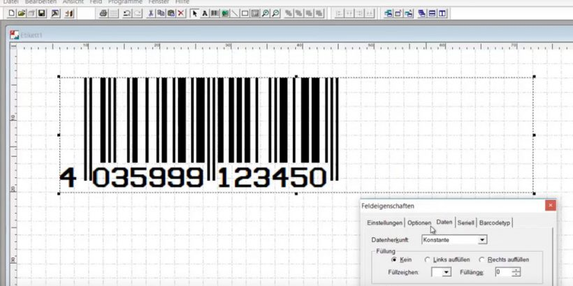 Erzeugter Barcode in der Legitronic Labeling Software