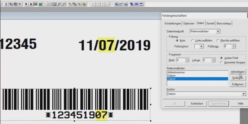 Referenzfeld erstellen in der Legitronic Etikettensoftware