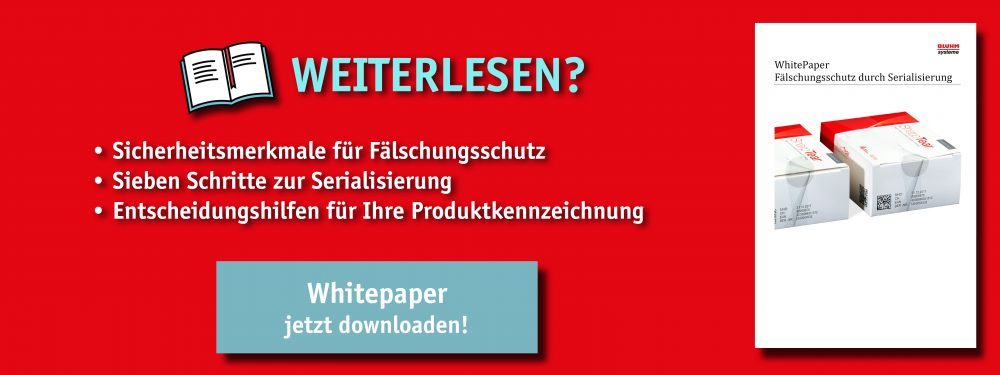 Whitepaper von Bluhm Systeme zum Thema Fälschungsschutz durch Serialisierung Siegeletiketten