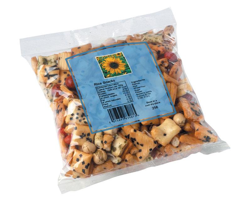 Linx TTO-Codierung auf Reis-Snack im Kunststoffbeutel