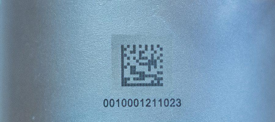 DMC Laserbeschriftung auf Metall (Datamatrix-Code)